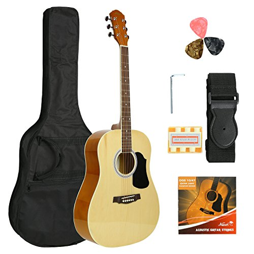 KAPOK AZ24DNPACK41-OB Full Size 41″ Acoustic Dreadnought Guitar with Bag & More Accessories, String, Picks, Strap and Pitch Pipes, Entry Level, Natural