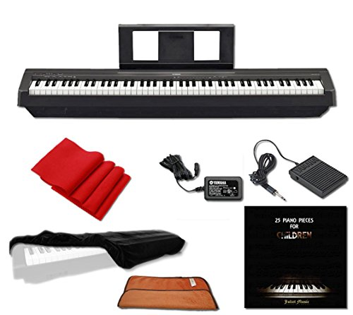Yamaha P45 Digital Piano 88-Key Weighted Action with Sustain Pedal, Power Supply, JULIET MUSIC Piano Cover, Key Cover and Polish Cloth