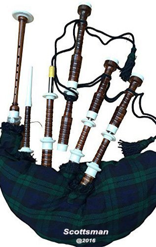 Scottmans SCOTTISH HIGHLAND BAGPIPE IVORY MOUNTS BLACK WATCH TARTAN WITH CARRY BAG