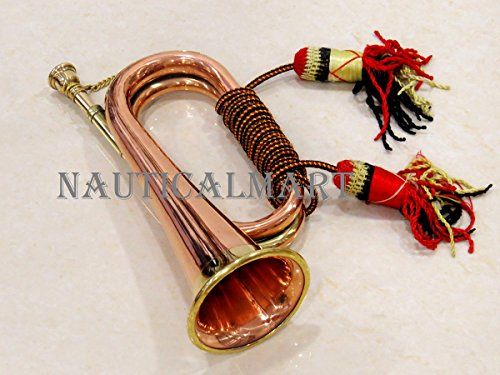 Brass and Copper Blowing Bugle Attack War Command Signal Horn with Beautiful Colourful Rope Binding