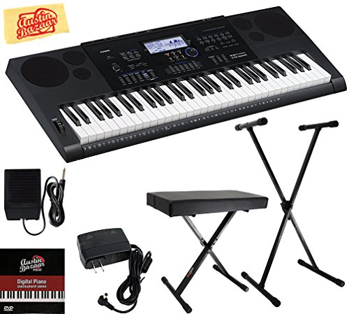 Casio CTK-6200 Portable Keyboard Bundle with Adjustable Stand, Bench, Sustain Pedal, Power Supply, Austin Bazaar Instructional DVD, and Polishing Cloth
