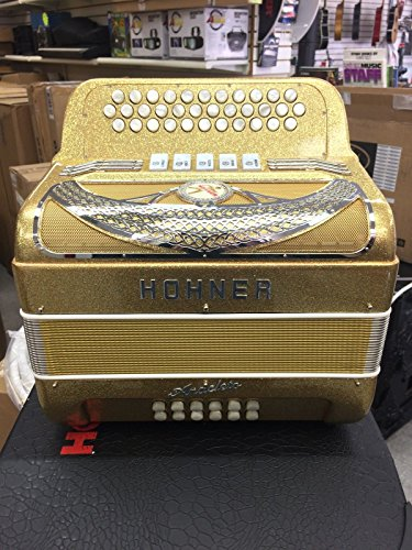 Hohner Anacleto Rey Del Norte Accordion Sol 5 Register Gold Sparkle Hand Made in Italy with Hardshell Case!