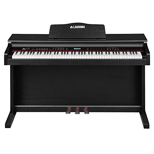 LAGRIMA 88-Key Home Digital Console Upright Piano Electric Keyboard W/3 Pedal Board and LCD Display(Black)