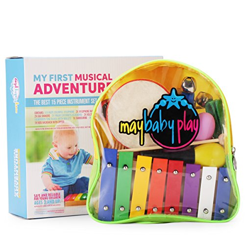 Xylophone Musical Instrument Educational Toys Set – MayBabyPlay My First Musical Adventure | Kids Percussion Box | with Jingle Bells and Maracas | Toddler Pre-School Kindergarten | Ebook and Backpack