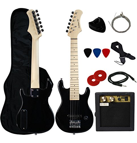 Stedman Pro 30″ Kids Electric Guitar Pack With 5-Watt Amp, Gig Bag,Strap,Cable,Strings,Picks,and Wrench,Guitar Combo Accessory Kit–Black