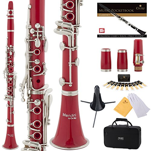 Mendini Red ABS B Flat Clarinet with 2 Barrels, Case, Stand, Pocketbook, Mouthpiece, 10 Reeds and More, MCT-2R+SD+PB