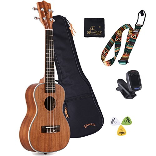 """WINZZ 21"""" Soprano Ukulele with Aquila Strings Moonlight Series , All Starter Kit Included Bag, Tuner, Strap, Cleaning Cloth, Picks"""