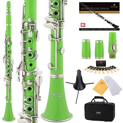 Mendini Green ABS B Flat Clarinet with 2 Barrels, Case, Stand, Pocketbook, Mouthpiece, 10 Reeds and More, MCT-2G+SD+PB