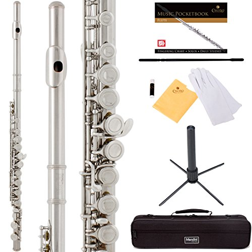 Mendini by Cecilio Premium Grade Silver Nickel Closed Hole C Flute with Stand, Book, Deluxe Case and Warranty, MFE_JN+SD+PB