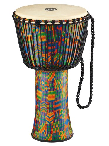 Meinl Percussion PADJ2-XL-G Extra Large Rope Tuned Travel Series Djembe with Synthetic Shell and Goat Skin Head, Kenyan Quilt