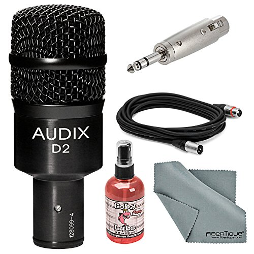 Audix D2 Dynamic Instrument Microphone Bundle with Adapter + XLR Cable + Mic Sanitizer + FiberTique Cleaning Cloth