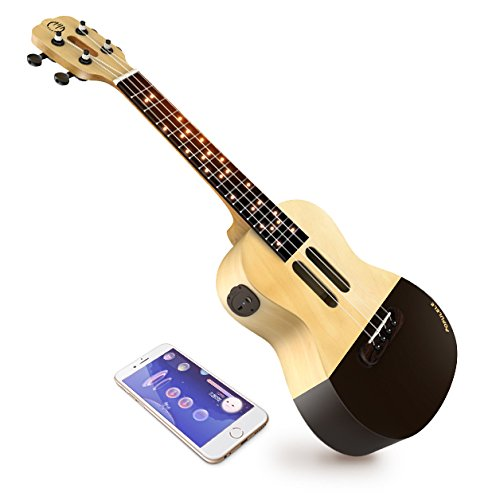 Popuband Populele Smart Ukulele – LED Fretboard, Bluetooth Connection – Free app for iOS and Android, Game Mode for Beginners – Acoustic Concert Size (Populele Only)