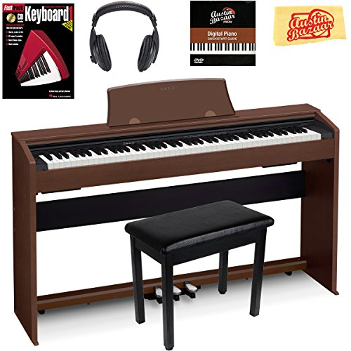 Casio Privia PX-770 Digital Piano – Brown Bundle with Furniture Bench, Headphones, Instructional Book, Austin Bazaar Instructional DVD, and Polishing Cloth