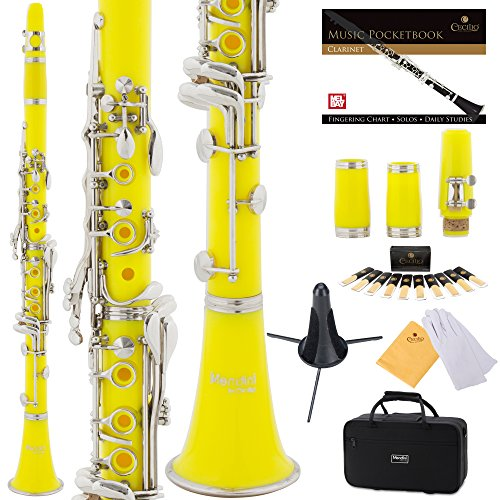 Mendini Yellow ABS B Flat Clarinet with 2 Barrels, Case, Stand, Pocketbook, Mouthpiece, 10 Reeds and More, MCT-2YL+SD+PB