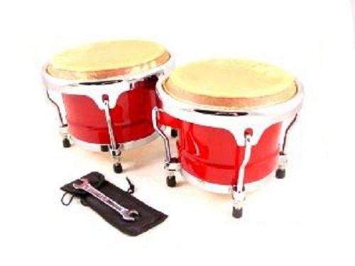 BONGOS 8″+9″ inch RED WOOD, DUAL DRUMS SET, WORLD LATIN Percussion NEW