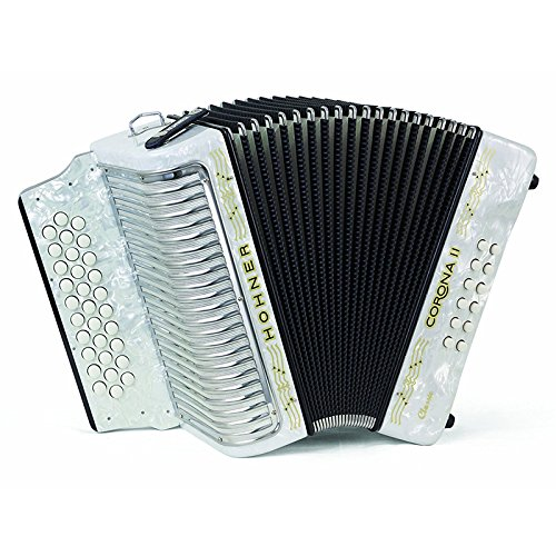 Hohner Button Accordion Corona II Classic GCF, With Gig Bag, Straps And Adjustable Bass Strap, Pearl White