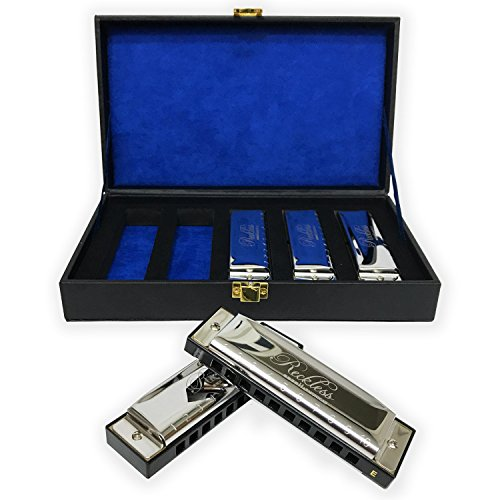 Harmonica Set With Case By Reckless Harmonicas. 5 Piece Blues Harmonicas In Keys Of A, C, D, E, G. For Adults, Kids, And Beginners. 10 Hole Diatonic Harmonicas Packaged In A Vintage Display Case
