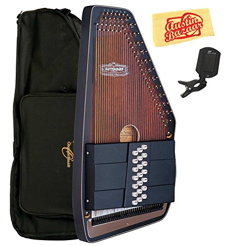 Oscar Schmidt OS110 Ozark Ovankol Top 21-Chord Autoharp Bundle with Gig Bag, Tuner, and Polishing Cloth