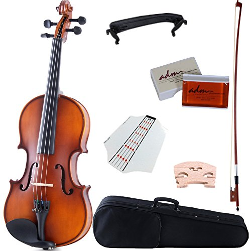 ADM 4/4 Full Size Solid Wood Violin with Bow and Case, Finger Board Sticker, Strings, Shoulder Rest, Brown