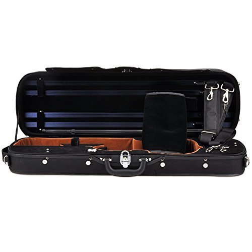 ADM Professional Sturdy Violin Case 4/4 Full Size, Oblong Wooden Hard Case for Good Violin with Hygrometer, Lock, Spacious Compartments and Adjustable Straps, Leather Handle, Sturdy – Black / Blue