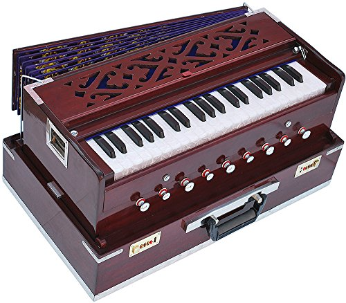 Harmonium Traveler/Portable/Folding Type By Kaayna Musicals, 9 Stops- 5 Main & 4 Drones, 3½ Octaves, Coupler, Dark Cherry Colour, Gig Bag, Bass-Male Reed -440Hz, Suitable for Yoga, Bhajan, Kirtan