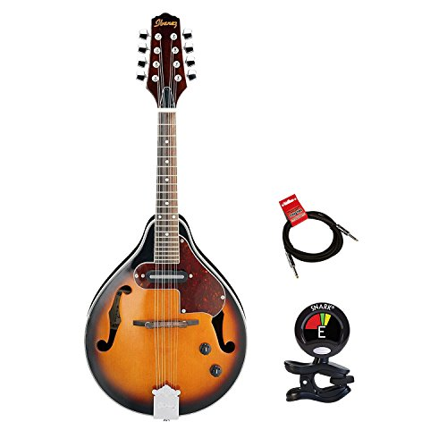 Ibanez M510EBS A Style Spruce Top Mandolin in Brown Sunburst High Gloss With Clip On Tuner and Mandolin Cable