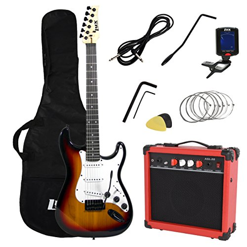 LyxPro Full Size Electric Guitar with 20w Amp, Package Includes All Accessories, Digital Tuner, Strings, Picks, Tremolo Bar, Shoulder Strap, and Case Bag Complete Beginner Starter kit Pack