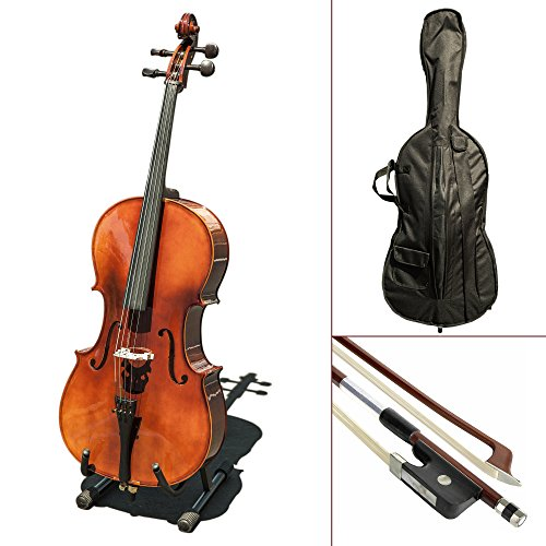 Paititi CE4009SE AVANT-GARDE Ebony Fitted Glossy Finish Solid Wood Cello with Soft Case, Brazilwood Bow, Rosin and Stopper (3/4)