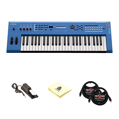 Yamaha MX49 49 Key Initial Touch Music Production Synthesizer Keyboard with Universal Sustain Pedal, 2 MIDI Cable and Zorro Sounds Synthesizer Cloth (Synthesizer Keyboard Bundle) in Blue