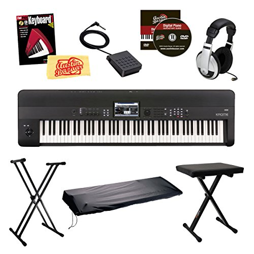 Korg KROME88 Music Workstation Keyboard/Synthesizer 88-Key Bundle with Bench, Keyboard Stand, Dust Cover, Sustain Pedal, Headphones, Instructional Book and DVD, and Polishing Cloth – Black