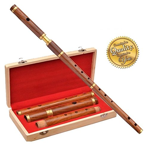 Traditional Irish D Flute Shesmwood Natural Finish +Wooden Hard Case/D Flute