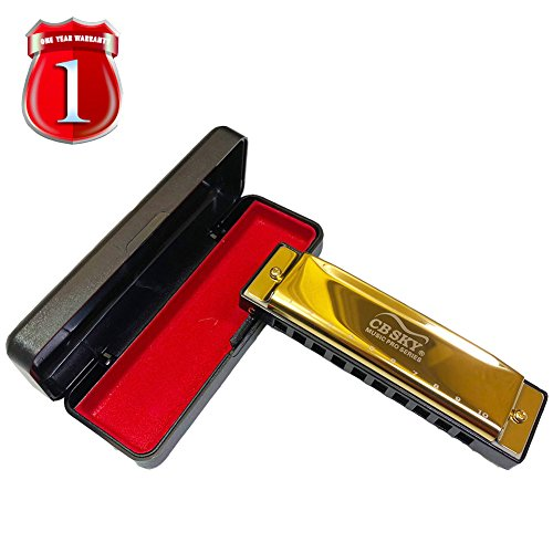 Harmonica Standard 10 Hole 20 Tones Harmonica Key of C Blues for Beginners Students Children Kids and Professional Player with One Year Warranty, Gold By CBSKY