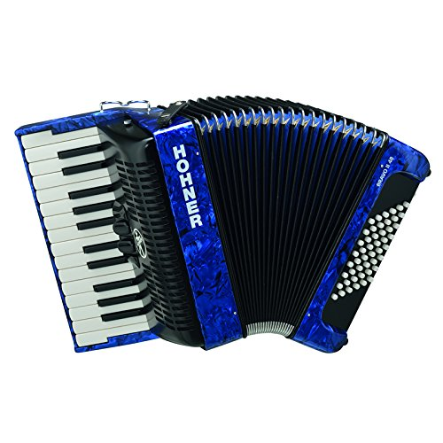 Hohner Piano Accordion Bravo II 48, Pearl Dark Blue, with Gig Bag & Straps