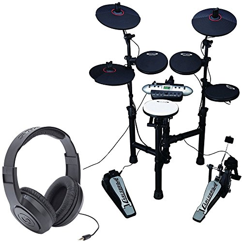 Carlsbro CSD130XXX Electronic Drum Set with Realistic Kick Pedal + Over-Ear Stereo Headphones – Top Value Bundle!