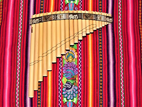 Professional Pan Flute 22 Pipes Natural Bamboo Nazca Lines Design From Peru – Case Included –