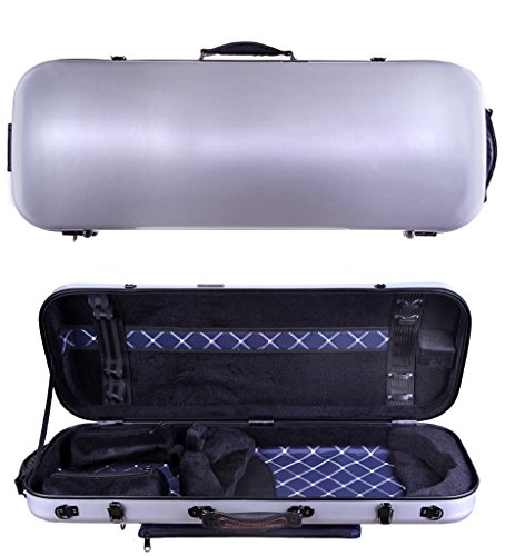 Tonareli Viola Oblong Fiberglass Case – Silver VAFO 1002 – Includes attachable music bag – Adjustable to over 18 inches