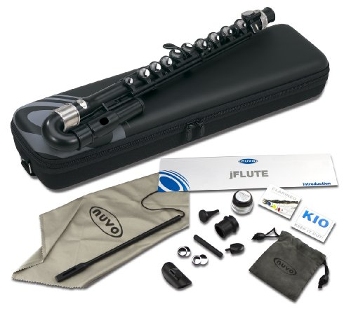 Nuvo N200JFBK jFlute Kit with Curved Head, Case & Accessories , Black with Stainless Steel Collars