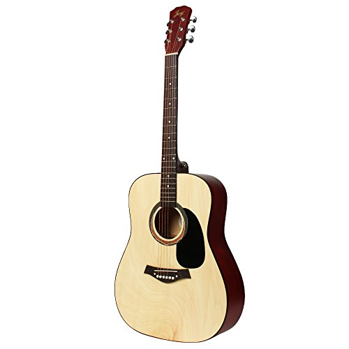 JOY201 41 inch  Full Size Beginner Acoustic Guitar in Matte Natural Color with 6 steel strings