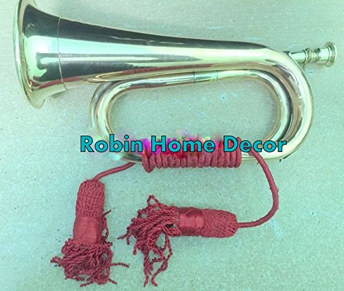 Robin Exports BUGLE BRASS with COPPER Vintage Military Signal Trumpet Bugle Instrument