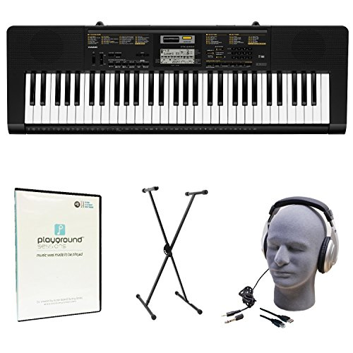 Casio CTK-2400 Learn-To-Play Quincy Jones Keyboard Bundle with Playground Sessions