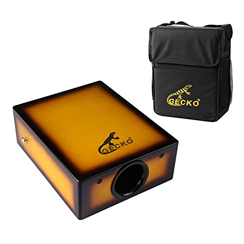 GECKO Portable Traveling EL Cajon Box Drum Hand Drum Birch Wood Percussion Instrument with High Fidelity Cable and Strap Carrying Bag