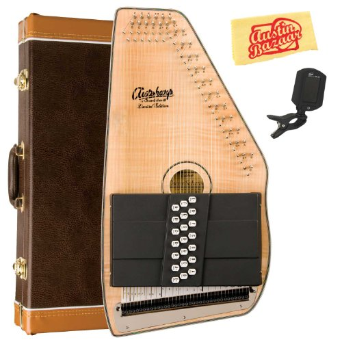 Oscar Schmidt OS110-21FNE 21 Chord Flame Maple Autoharp with Fine Tuning System Bundle with Hard Case, Tuner, and Polishing Cloth – Natural