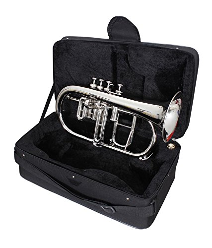eMusicals 4 Valve Flugel Horn Bb Pitch With Free Bag and MouthPiece, Nickel Silver