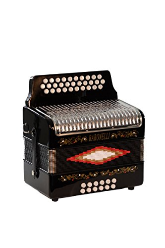 Full Size 31 Button Black Diatonic Accordion Key of SOL G,C,F, with Hardshell Case, Back Straps, Stainless Steel Grill & DirectlyCheap(TM) Translucen Blue Pick