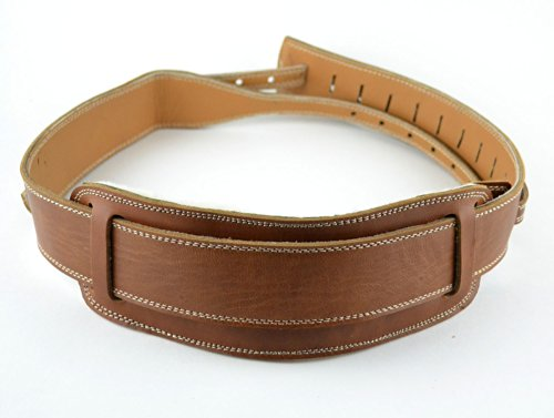 Pete Schmidt Leather Banjo Strap – Handmade Brown Leather Strap with Sheep's Wool Pad