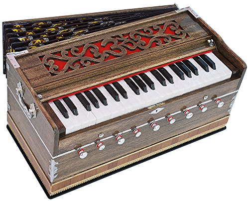 OM Harmonium Rat Colour Pro Grade By Kaayna Musicals, 9 Stop- 5 Main & 4 Drone, 3½ Octave, Coupler, Gig Bag, Bass/Male Reed Tuned- 440 Hz, Suitable for Peace, Yoga, Bhajan, Kirtan, Shruti, Mantra