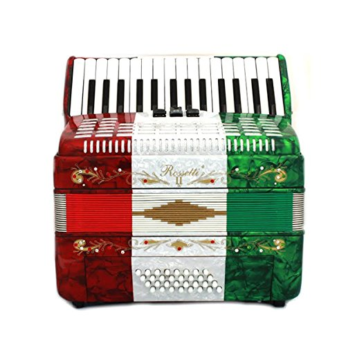 Rossetti Piano Accordion 32 Bass 30 Piano Keys 3 Switches Mexican Flag