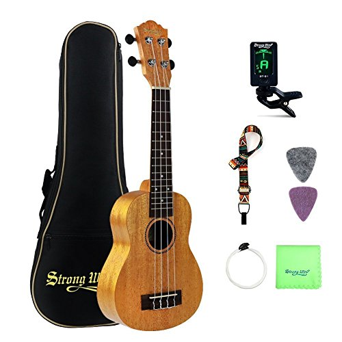 Mahogany Soprano Ukulele Beginners, Strong Wind 21 Inch Natural Uke Ukulele Starter Kit with Tuner, Professional Aquila Strings, Strap, Picks and Carrying Bag for Kids Children Adults Students