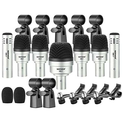 Neewer 7 Pieces Wired Drum Instrument Microphone Kit – Bass Drum/Tabour/Condenser Mic Set for Drums, Jazzy Drums, Vocal and Other Instrument with Thread Clip, Foam Windscreen and Aluminum Case (NW-7)