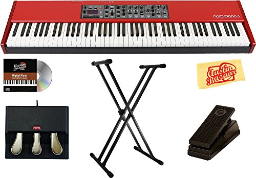 Nord Piano 3 88 Stage Piano Bundle with Nord Triple Pedal, Stand, Expression Pedal, Austin Bazaar Instructional DVD, and Polishing Cloth